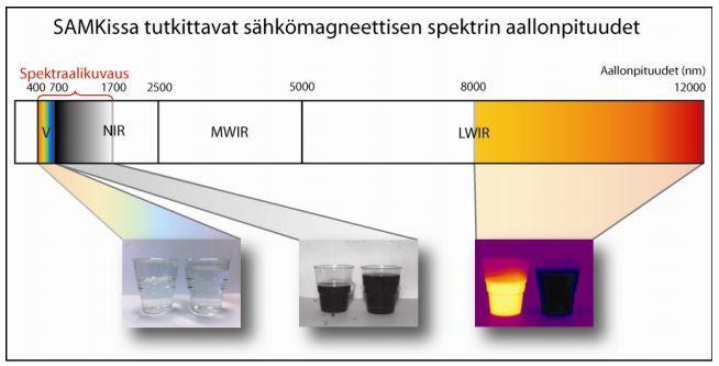 Kuva 1. Satakunnan ammattikorkeakoululla konenäkökuvauksissa käytössä olevat sähkömagneettisen spektrin aallonpituudet.