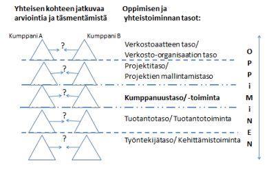 Kuva 2. Monitasoinen oppiminen verkostossa (mukaellen Toiviainen 2008).