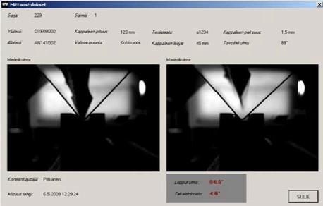 Kuva 3. b) särmäyksen takaisinjouston mittaussovelluksen käyttöliittymä