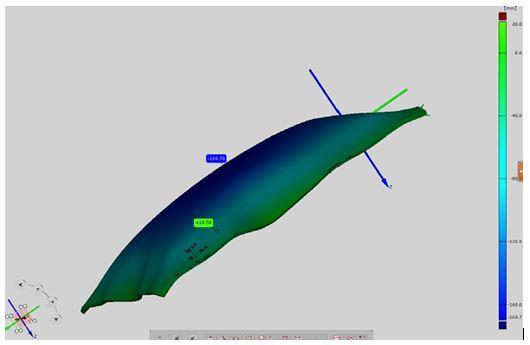 Kuva 6. GOM Atos/Tritop –järjestelmällä kuvattu teräslevy ja sen syvyys referenssitasoon nähden.