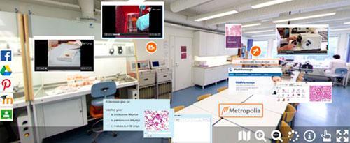 Kuva 1. Näkymä histologian (kudosopin) virtuaalilaboratorioon.