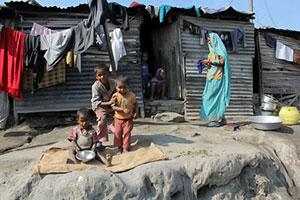 Mother and children in Balkhu