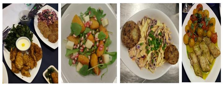 Kuva 2. Sharing is Caring -konseptin menusta kuvia; broileria, lehtikaalia ja appelsiinia (vas.); kurpitsaa, juustoa ja salaattia; kvinoaa, kukkakaalia ja coleslawta; kuhaa, yrttejä ja tomaatteja.