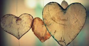 Hjärtformad dekorationer.