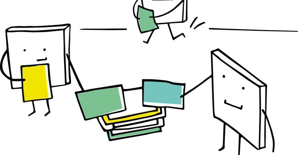 Tikku-ukkohahmoja asettelemassa papereita pinoon.