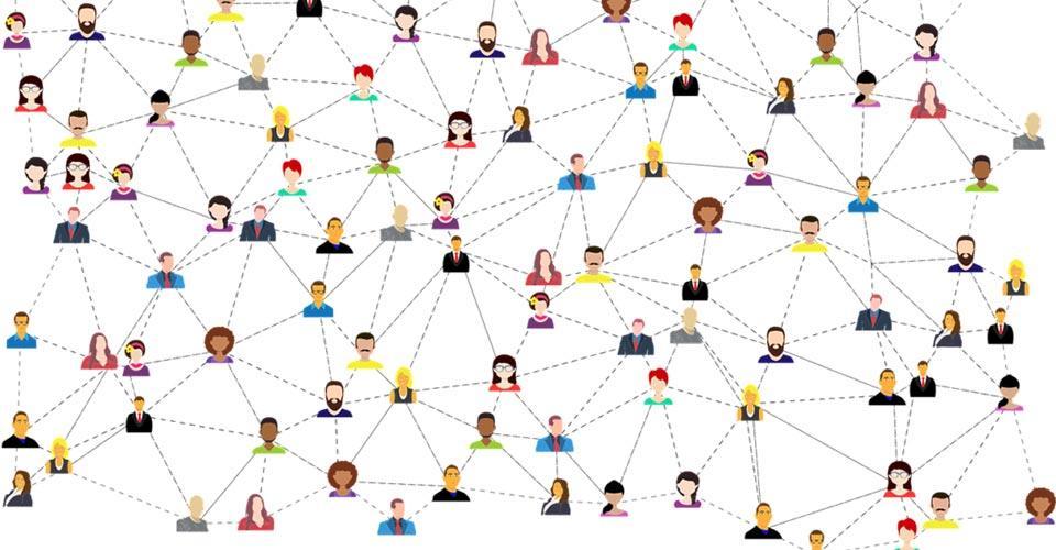 Piirrettyjä päitä jotka verkosto tuo yhteen.